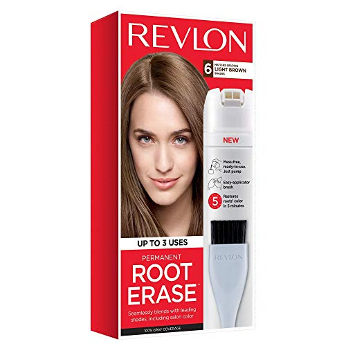 Revlon Root Erase Permanent Hair Color, At-Home Root Touchup Hair Dye with Applicator Brush for Multiple Use, 100% Gray Coverage, Light Brown (6), 3.2 oz