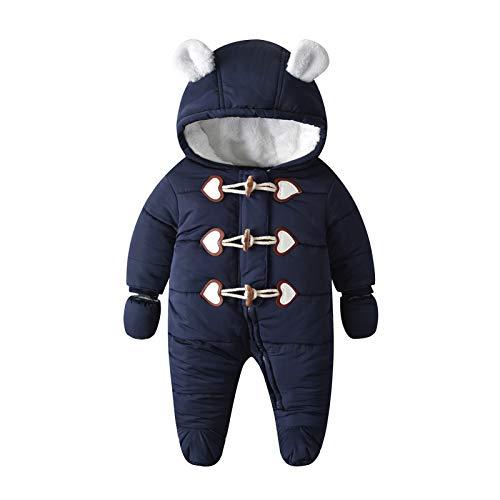 Yuwao Baby Schneeanzug Winter Warm Overall mit Kapuze Jungen Mädchen Strampler Baumwoll Langarm mit Handschuhen Jumpsuit Onesies Bodysuits 6-9 Monate Blau