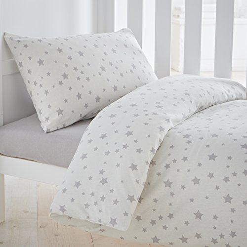 Silentnight Safe Nights Nursery Cot Bed Duvet Cover & Pillowcase Set, Grey Star