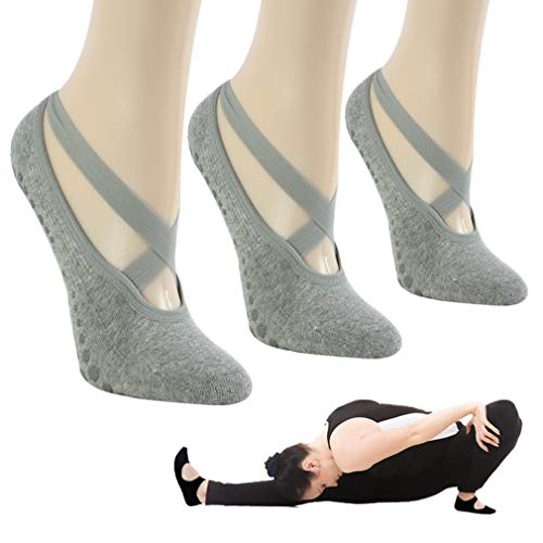 Gmall - Calcetines de yoga antideslizantes para mujer y niña (algodón, 3 pares), color gris claro