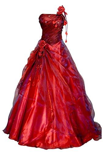Romantic-Fashion Damen Ballkleid Abendkleid Brautkleid Lang Modell E231 A-Linie Blüten Perlen Pailletten DE Bordeauxrot Größe 36