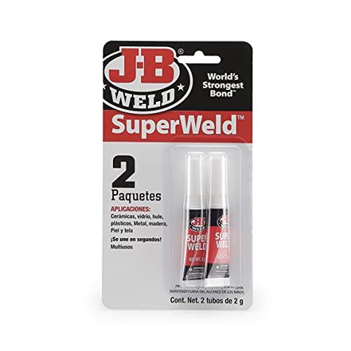 J-B Weld 33102SPA - Super Weld - Cianocrilato - Pegamento - Glue - Multiusos - Acción rápida - Punta de precisión - Metal - Alta resistencia - Fijación - 2 tubos de 2gr