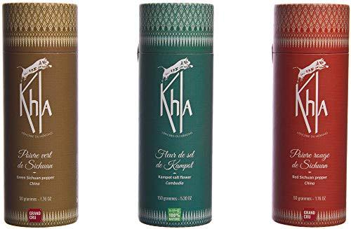 KHLA - Trío Mekong - Pimienta de Szechuan verde, Pimienta de Szechuan roja y Flor de sal de Kampot