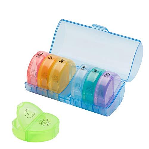 7 Tage Pillendose Tägliche Pillendose, Mini Portable AM/PM 7 Großes Fächer Feuchtigkeitsbeständiger Medikamentenbox Reisen Tablettenteiler (Regenbogen)