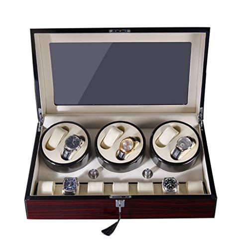 Caja de madera de lujo automática para relojes de lujo 6 relojes de madera + 7 cajas de almacenamiento para 13 relojes (color marrón, tamaño: 48 x 26 x 21 cm)