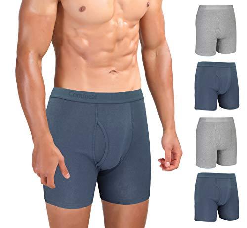 Comfneat Herren Boxershorts 5er Pack Long Leg Boxer Briefs Baumwolle Unterhosen Super Elastisch Komfortable Retroshorts (Dark Grey+Grey Melange Pack-5, S)