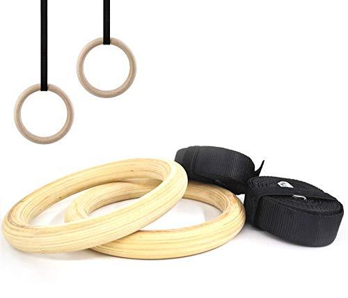 FSG28063 Anelli Ginnici Olimpici per Crossfit Fitness Palestra Ginnastica | Pull Up Forza Sospensione | Legno trattato, Cinghie in Nylon | Diametro 23 mm, Super Resistenti