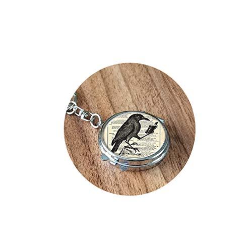 bab Raben-Anhänger, Raben-Halskette, Krähen-Halskette, Vogel-Schmuck, Halskette, faltbarer Spiegel, Reise, tragbar, kompakt, rund, Kosmetik