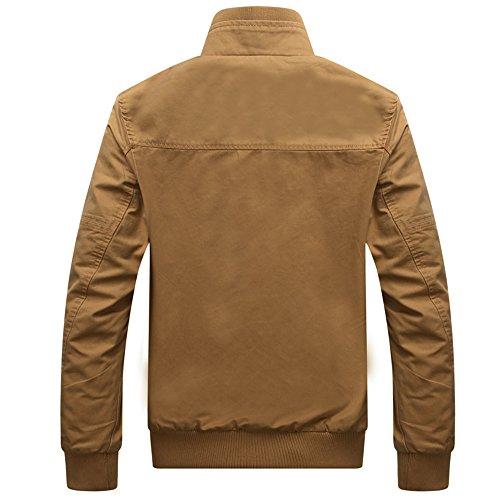 Dwar Men Casual Long Sleeve Full Zip Jacket with Shoulder StrapsKQ4L Khaki X-Large