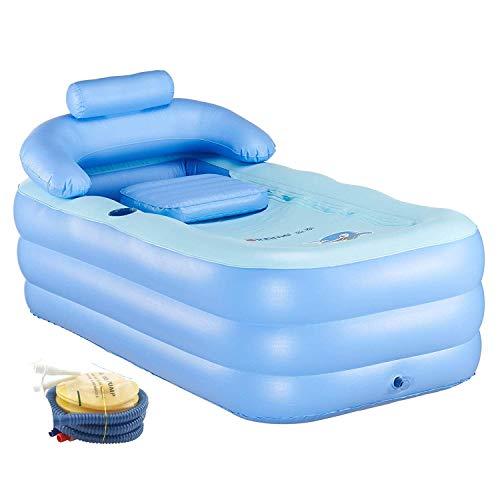 Vasca da Bagno Gonfiabile per Adulti Piscina per Bambini Massaggio Spa Letto Pieghevole per Bagno/ Giardino
