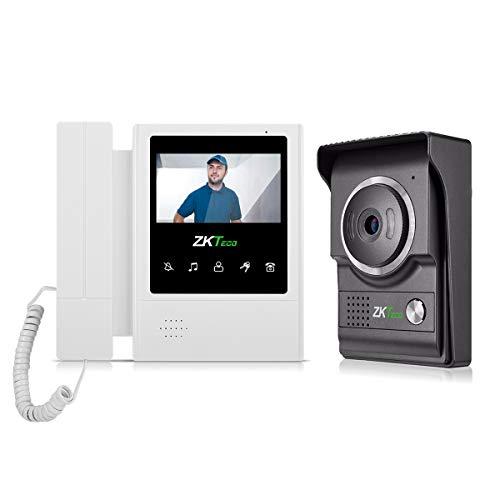 ZKT eco Kit Videoportero, Intercomunicador de Puerta Para uso en el Hogar VDP04-B4 con Monitor LCD de 4.3 Pulgadas, Timbre de Video con Cámara y Sistema de Vision Nocturn