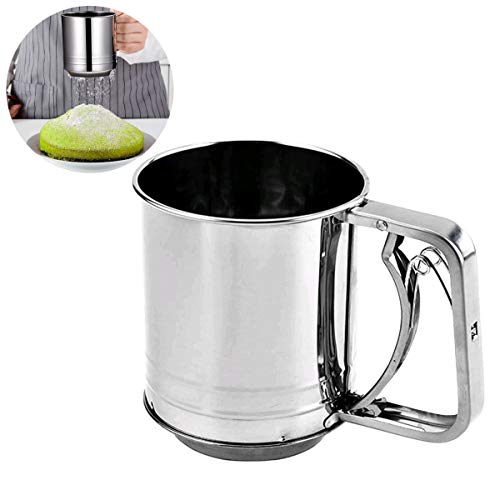 NACTECH Flour Sifter for Baking Stainless Steel, Fine Mesh Sieve Sugar Flour Sieve for Powdered Sugar Sift Flour Spread Toppings (3 Cup)