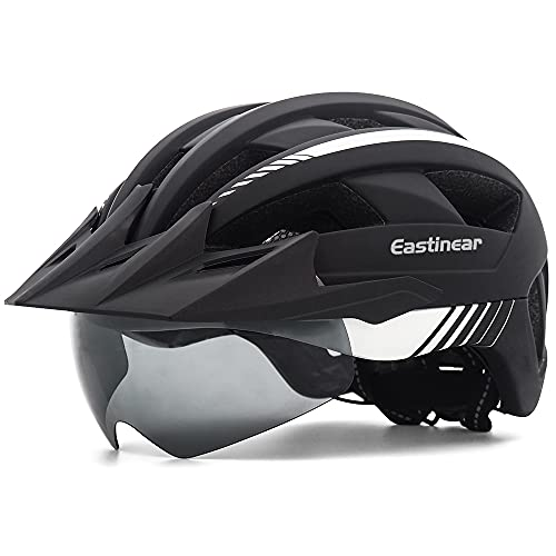 EASTINEAR Casco Bicicleta con Visera LED Luz Trasera Casco MTB para Adulto...