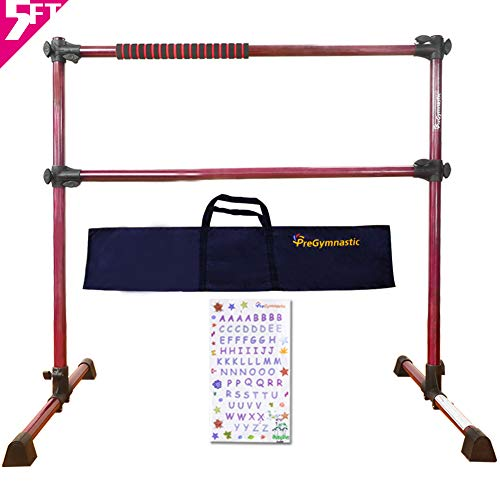 PreGymnastic 5 Ft Adjustable & Portable Double Freestanding Ballet Barre with Carry Bag for Dancing Stretching