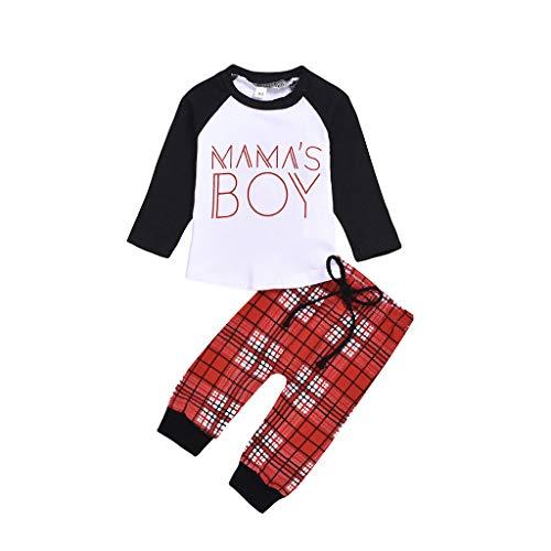H.eternal(TM) Conjunto de trajes de manga larga con estampado de letras y pantalones a cuadros para bebés y niños