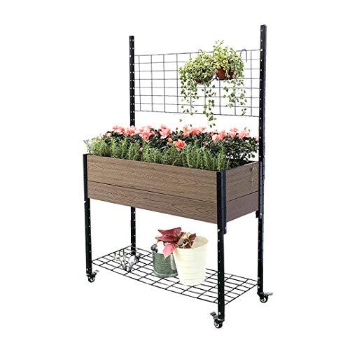 Everbloom K2101 Mobile Elevated Garden Planter Box Raised Bed with Trellis & Under Shelf, Composite Board, UV Resistant & Heavy Duty Steel Frame, 2