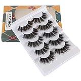 5D Volume Faux Mink Lashes, FANXITON False Eyelashes Full Fluffy Fake Eyelashes 5 Pairs