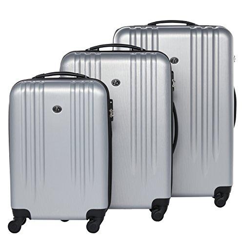 FERGÉ 3-delige koffer-set Reisbagage Marseille premium harde spinner premium bagage-koffer zilver