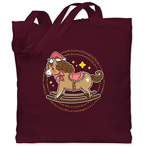 Shirtracer Weihnachten Kind - Schaukelpferd - Unisize - Bordeauxrot - XT600_Jutebeutel_lang - WM101 - Stoffbeutel aus Baumwolle Jutebeutel lange Henkel