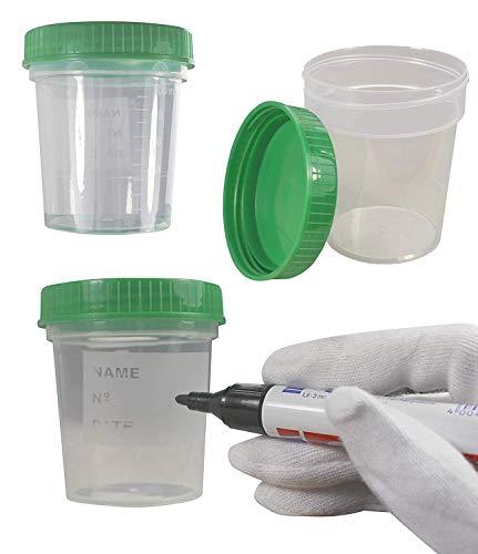 MEDI-INN Urinbecher mit Schraubdeckel grün | 25 Stück | auslaufsicher & gefriertauglich | 125 ml Fassungsvermögen bis 100 ml graduiert | mattiertes Schriftfeld