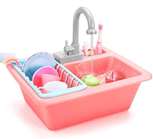 Ucradle Küchenspielzeug - Kinder Küche Spielzeug mit Geschirr Zubehör Wasserkreislauf Spülmaschine Set für Jungen Mädchen ab 3 4 5 6 Jahre