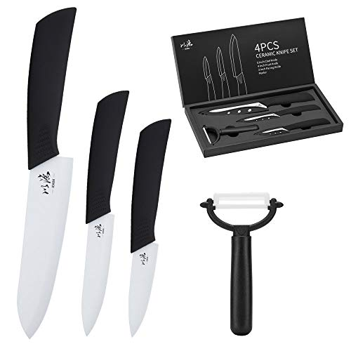 icxox Ceramic Knife Set 6 Inch Chef Knife & 4 Inch Fruit Knife & 3 Inch Paring Knife & Peeler (4 Piece, White Blade)