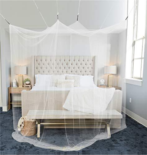 Moskitonetz Doppelbett 220x220x200cm mit 8 Aufhängepunkten - Mückennetz Bett für Einzelbett & Doppelbett mit 2 Öffnungen für leichten Einstieg - Himmelbett Vorhang als Bett Mückenschutz