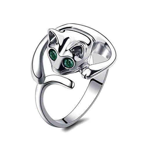 Renquen Vrouwen Crystal Elegant Verstelbare Zilveren Ring Mode Open Kat Ring Bruiloft Sieraden Engagement voor Vrouwen Meisjes