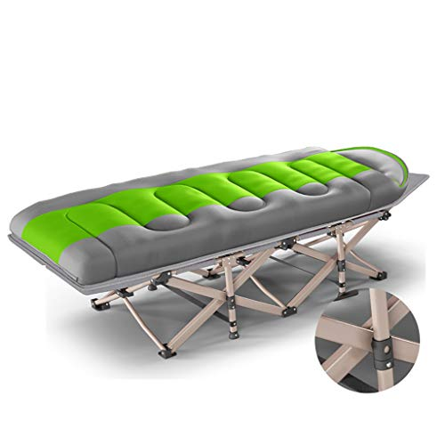 Chaise longue Plage pliante en métal, piscine, lit simple de camping avec le sac de couchage (190 × 66 × 37cm)