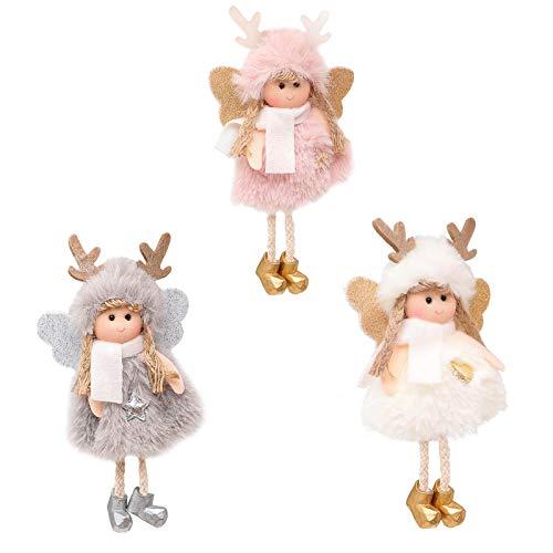 Xindian 3 Stück Weihnachtsengel Puppe Anhänger – Weihnachtsbaum hängende Ornamente Handwerk Hängende Engel Plüsch Puppe für Weihnachten Fenster Baumschmuck