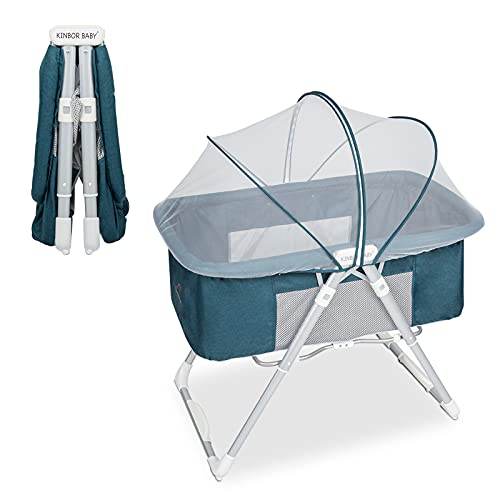 Kinbor Baby 2 in 1 Stationary and Rocking Bassinet On-Second Fold Travel Crib Portable Cradle for Newborn Baby