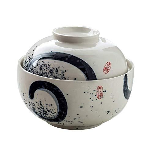 XiYou Cuenco Cuenco de Postre Creativo de cerámica con Tapa Cuenco de Ramen Cuenco de Fideos instantáneos Cuenco de Sopa para el hogar Cuenco de Frutas (pequeño)