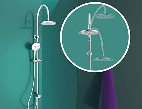 EISL DX12008 Duschset FLEXO, Duschsäule 2 in 1 mit Regendusche (Ø 240 mm) und Handbrause, Dusche mit flexibler Höhe, komplettes Montageset, Chrom/Weiß