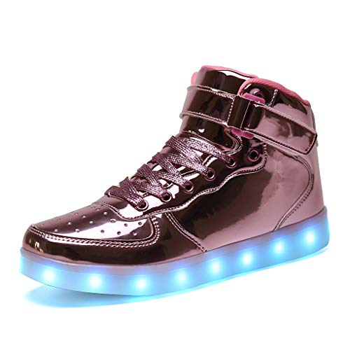 Niños Zapatillas Led Luminioso con Unisex Hip Tops Sneakers Zapatos con Luces rosado34
