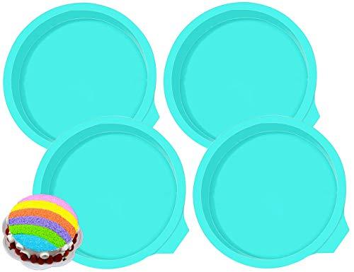 BETOY Molde de Silicona para Tartas Moldes Redondos 6 Pulgadas Antiadherente Quiche Molde Silicone Cake Molds para Hornear Pasteles y Repostería 4 Piezas (Verde)