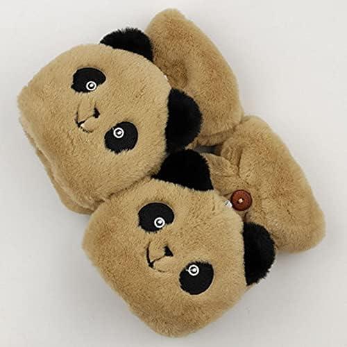 Tgnk Winter Warm Soft Rabbit Fur Knitted Gloves, Female Clamshell Half-Finger Driving Gloves (Color : E21 Clamshell Khaki, Gloves Size : One Size)