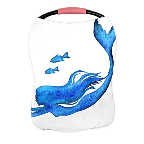 Sale!! PKQWTM Mermaid Silhouette Nursing Cover Baby Breastfeeding Infant Feeding Cover Baby Car Seat...