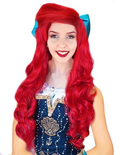 Anogol Hair Cap +80cm Curly Wavy Red Wigs Women Fashion Lolita Cosplay Wig