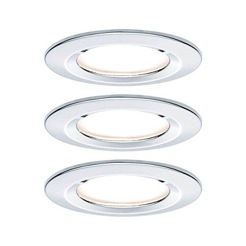 Paulmann Einbauleuchte LED Nova rund 6,5W GU10 Chrom IP44 spritzwassergeschützt 3er-Set starr 3-Stufen-Dimmbar