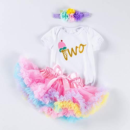 Pxyaz Recién Nacido Bebé Muchachas Es mi Atuendo de 1er / 2do cumpleaños Vestido de Princesa Tutu Juego de 3 Piezas Romper + Falda + Venda Apoyos de la Foto,02,6~12 Months
