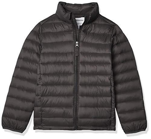 Amazon Essentials Kids Boys Light-Weight Water-Resistant Packable Puffer Jackets Coats, Grey, Medium