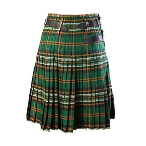 Mxssi Casual Plissee Scottish Kilts Männer Mode Hosen Fracht Persönlichkeit Hosen Plaids Muster Lose Halbröcke Für Männer Grün M