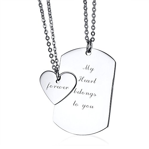 VNOX Stainless Steel My Heart Belongs to You&Forever Dog Tag and Heart Couples Necklace Set
