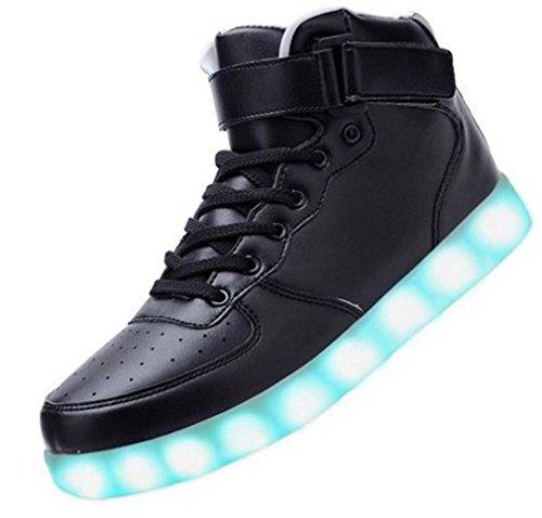 Littlepanda Women Men High Top USB Charging LED Shoes Flashing Sneakers (US 6.5 Woman/US 4.5 man/CN37, Black)