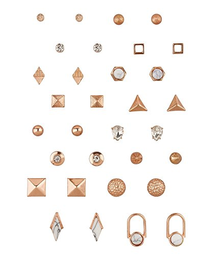 SIX Ohrstecker, Damen Ohrring, Ohrhänger Set, earrings aus roségold in geometrischen Formen und Naturstein Optik (702-231)