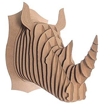 Sculpture murale 3D en carton en forme de tête de rhinocéros
