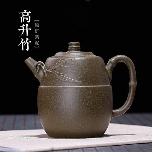 KANJJ-YU Nueva República se eleva de bambú Verde de Mineral de Arcilla Verde Regalo Hecho a Mano Tea Pot Tetera