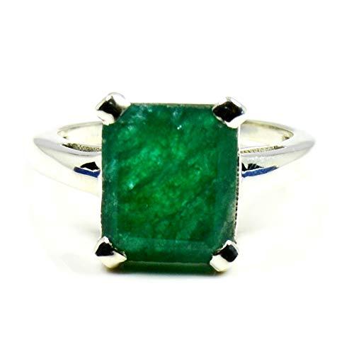 Gemsyogi Unisex Herren Damen - 925 Sterlingsilber Sterling-Silber 925 Smaragdschliff Green Smaragd