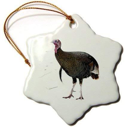 Aersing Snowflake Porcelain Ornament Animals Wild Turkey, Christmas Tree Hanging Ornament Gift