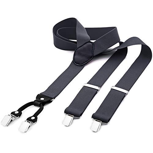 DonDon tirantes anchos 3,5 cm para hombres con 4x clips con cuero en forma de Y - gris